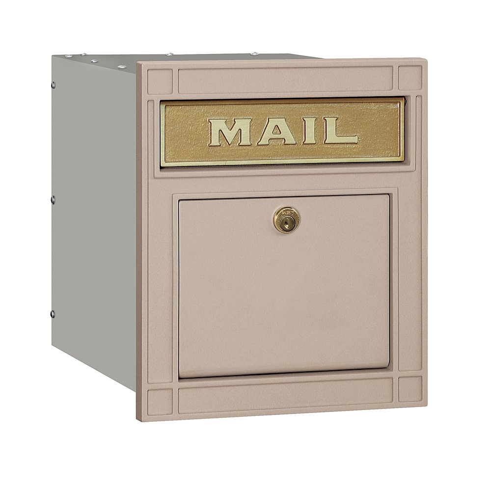 Salsbury Industries 4145P-BGE Cast Aluminum Column Mailbox Locking Plain Door, Beige