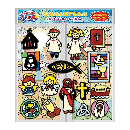 Christianity Gel Clings - Thick Vinyl Window & Wall Clings for Kids and Toddlers - Educational, Religious and Spiritual Gels for Home, Travel, Classrooms, Teachers - Church, Jesus, Cross and - Christian Window