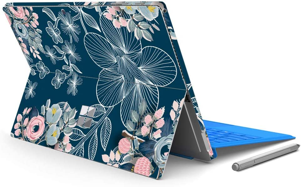 """MasiBloom Laptop Decal Sticker for 12.3"""" Microsoft Surface Pro 6 2018 Released & New Surface Pro 2017 & Pro 4, Protective Skin (for Surface Pro 6/ Pro 5/ Pro 4, Rose- Navy Blue)"""