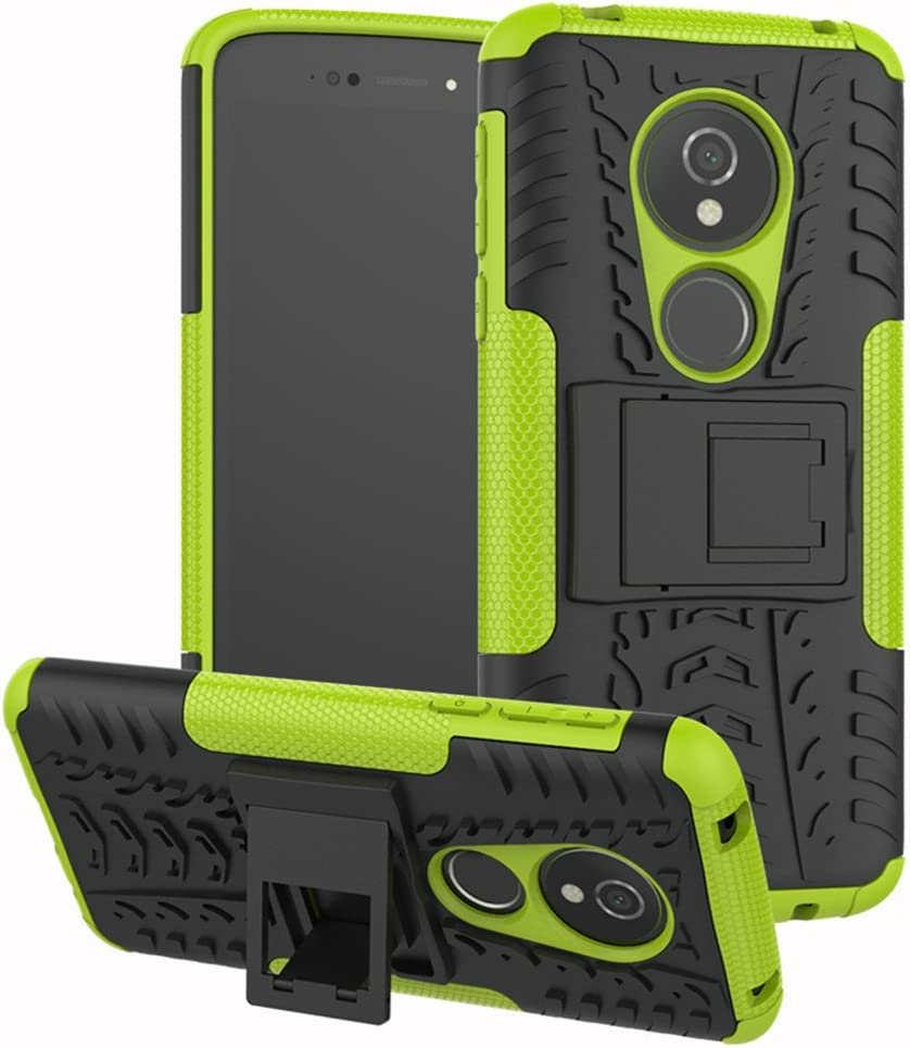 Moto G6 Play Case,Moto G6 Forge case, Yiakeng Dual Layer Shockproof Wallet Slim Protective with Kickstand Phone Case Cover for Moto G6 Play Case (Green)