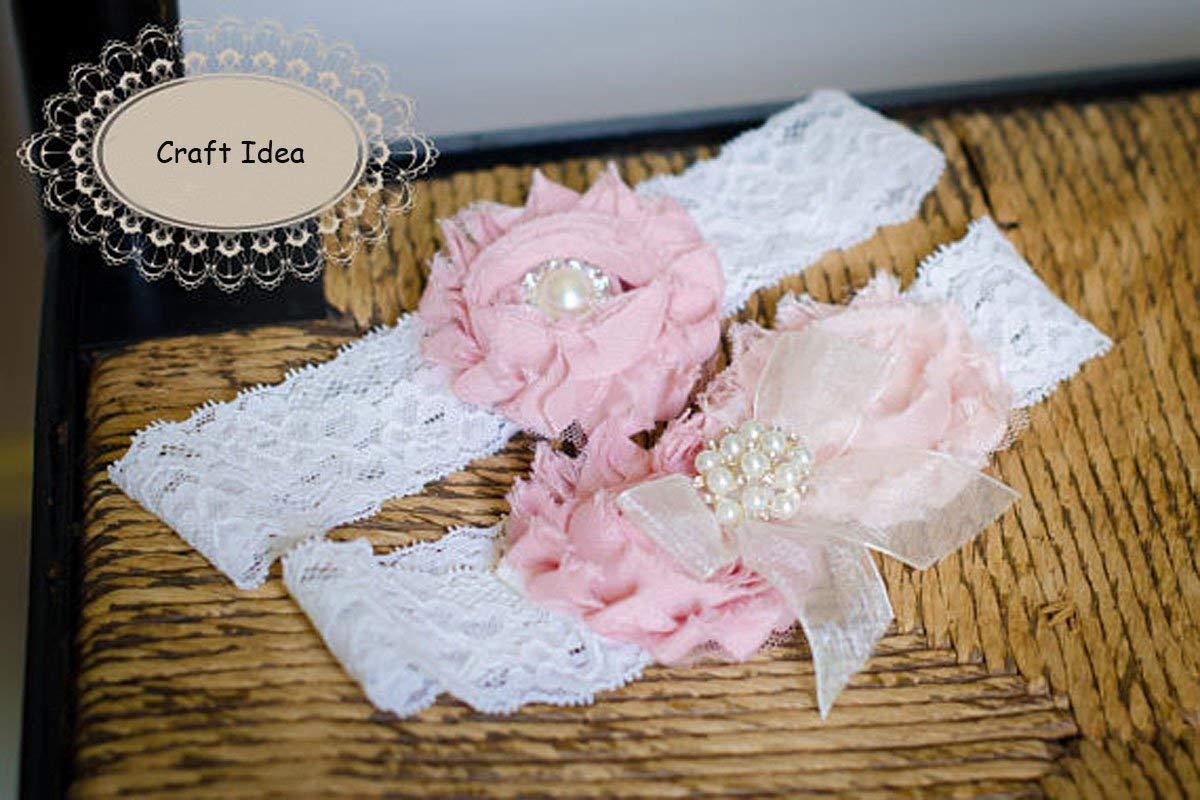 YYCRAFT Stretch Lace White 1.5 Stretch Lace by the yard Baptism Headband Wedding Bridal Headband DIY Headband Lace-Snow White
