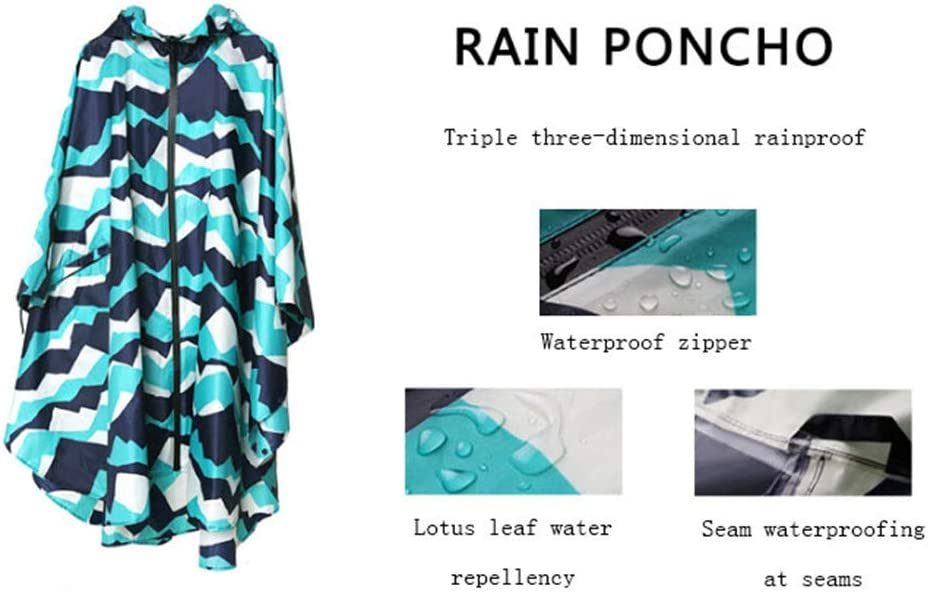 Waterproof Packable Batwing-Sleeved Raincoat, with Zipper Styles, with Zipper Styles, for Adults with Pockets,A B