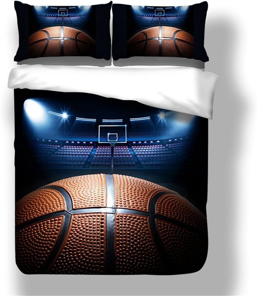1.2M Bed Base-Ball, 140x200cm CHAOSE Ensemble De Literie S/érie Sportive Polyester-Coton Housse De Couette 3 Pi/èces 1 Housse De Couette + 2 Taies doreiller 48x74cm