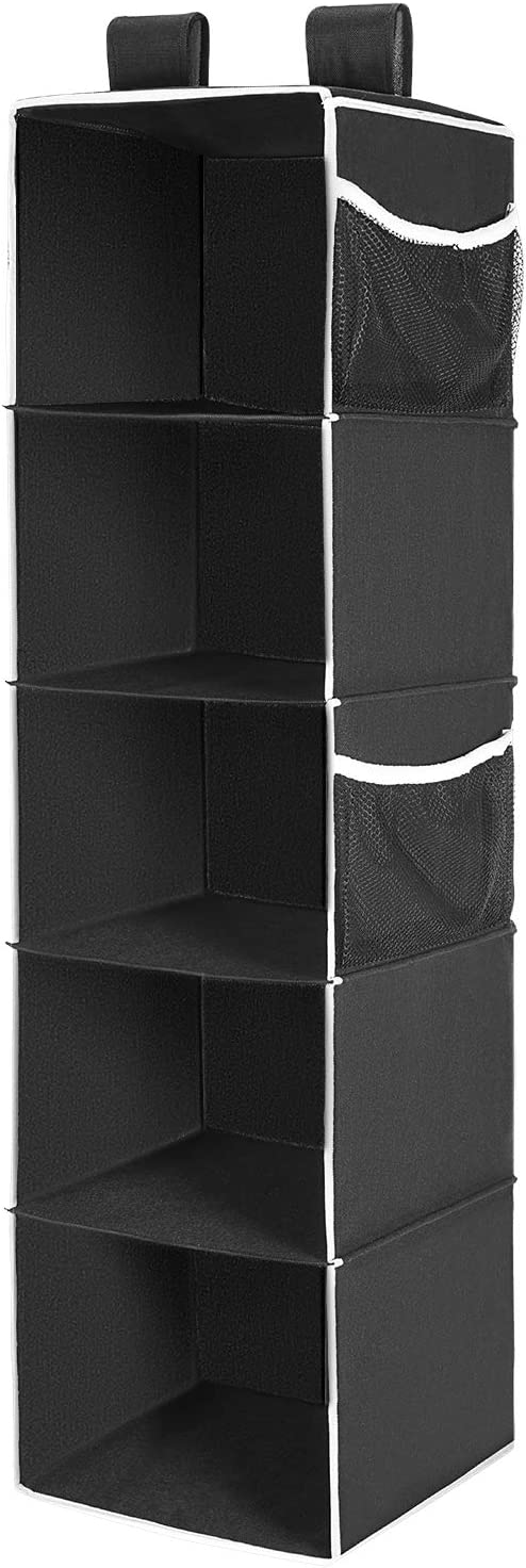 MaidMAX Hanging Wardrobe Storage, 5 Shelves Heavy Duty Organiser Storage Unit with 4 Side mesh Pockets for Sweaters, Shoes, Accessories - Black(30.5 L x 29.2 W x 106.6 H cm)