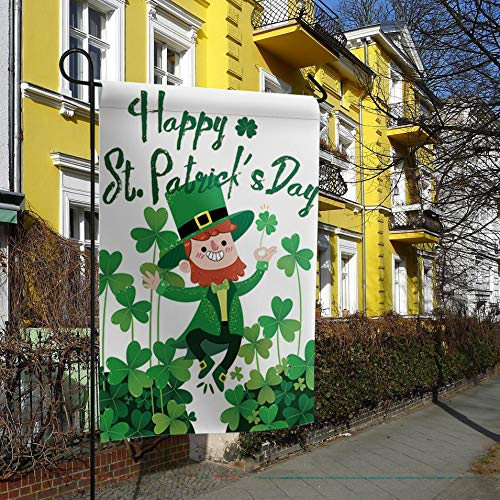 Garden Flags House Banner Decorative Flags Home Outdoor Valentine, Elf with Red Beard St Patrick's Day Shamrock Lucky Celtic Clovers Swirls, Welcome Holiday Yard Flags, Double Sides 28 x 40inch