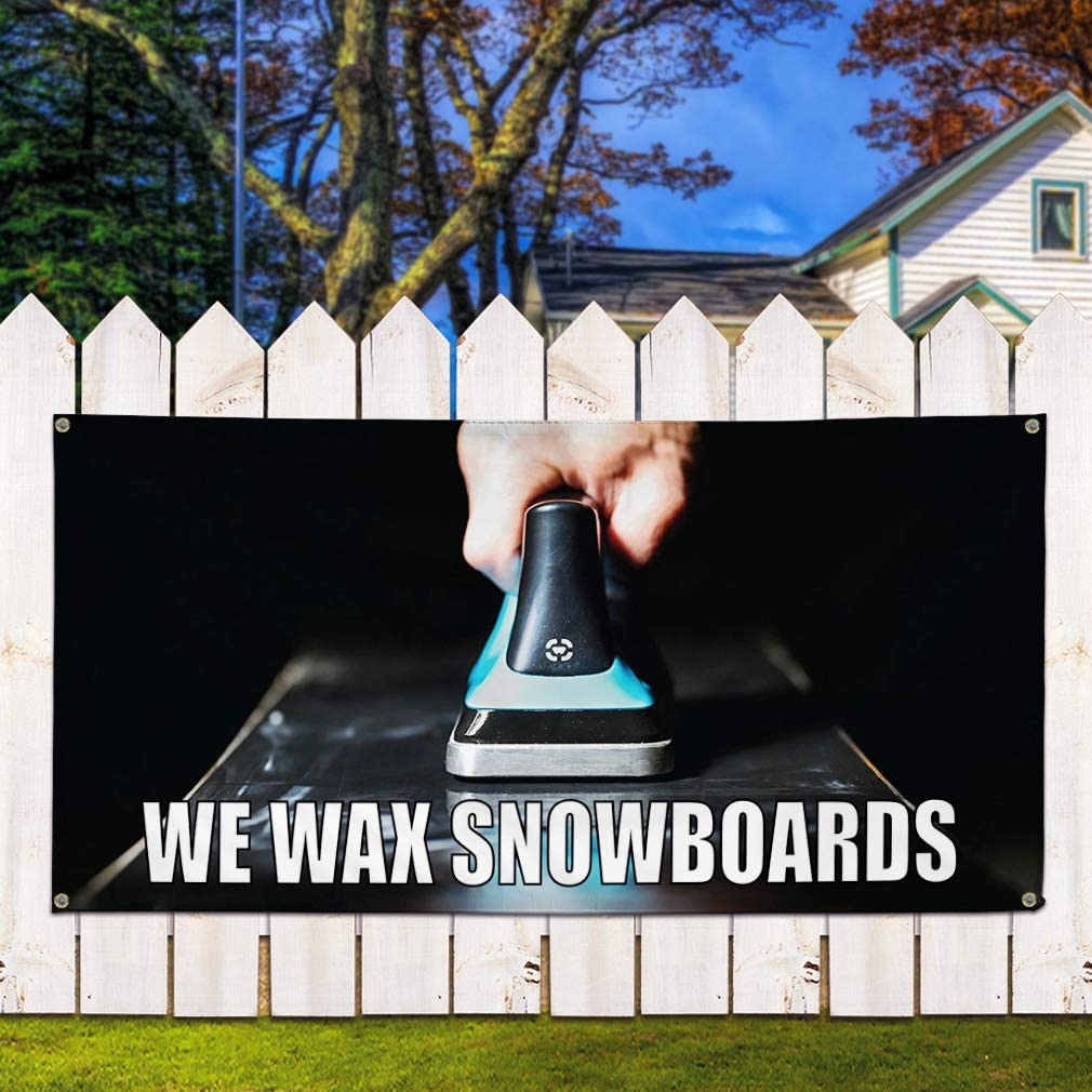 Multiple Sizes Available 32inx80in Vinyl Banner Sign We Wax Snowboards Business Snowboards Marketing Advertising White Set of 2 6 Grommets