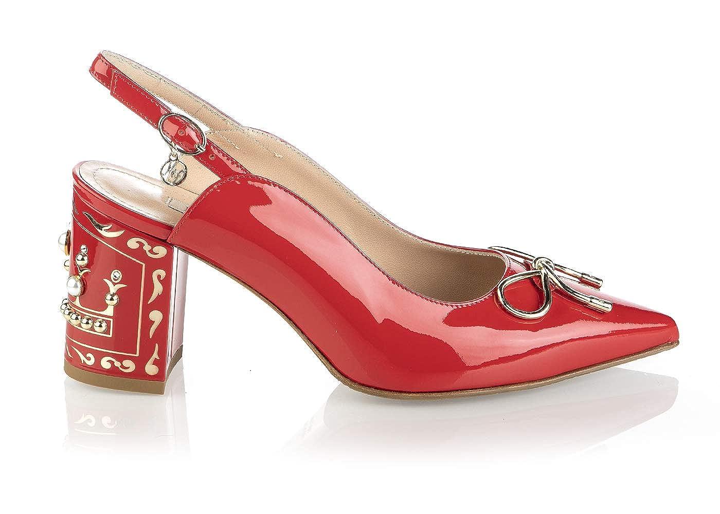 - Marino Fabiani 6732 Red Patent Leather Iatlian Designer Women Sandals