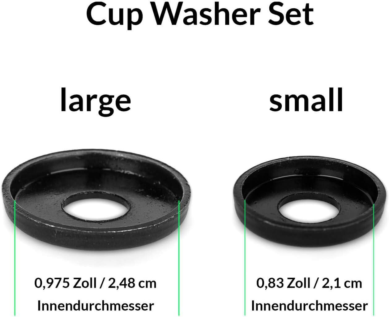 Kingpin Scheiben Set f/ür 2 Achsen Skateboard Cup Washer 2er Set schwarz