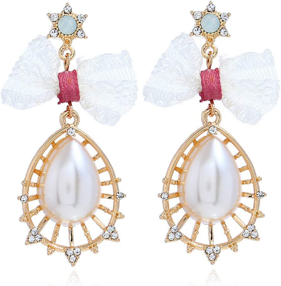 SSDAOLAO Pendientes Pendientes Colgantes De Diamantes con Perlas De Piedras Preciosas De Imitación