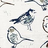 Bird Toile Regal Blue Chinoiserie Tailored King Sham Cotton Linen