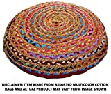 Cotton Craft - Hand Woven Jute & Cotton Multi Chindi Floor Pillow - 24 inch Round - Solid color Red back - Pillow made from multi color re-cycled yarns, actual product may vary in color from image