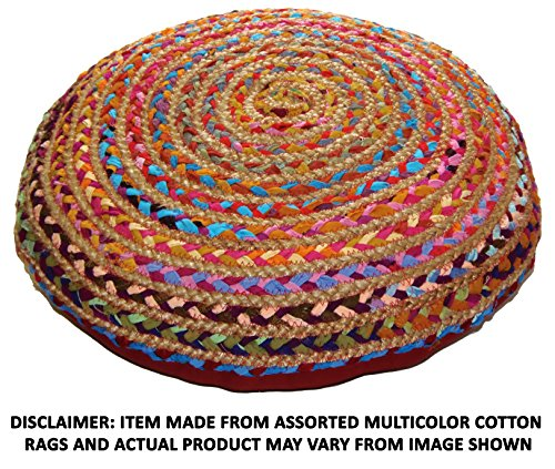 Jute Throw (Cotton Craft - Hand Woven Jute & Cotton Multi Chindi Floor Pillow Cover with Zipper-24 IN Round - Pillow is made from multi color re-cycled yarns, actual product may vary in color from the image shown)
