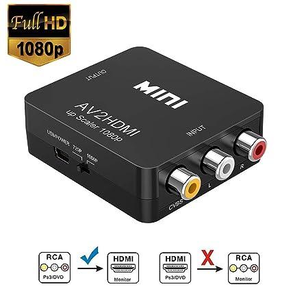 HDMI zu AV Converter AV auf HDMI Konverter Unterstützung 1080P mit USB Ladekabel