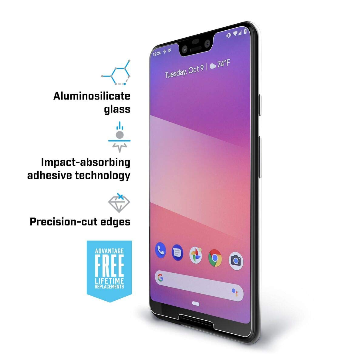 Pure 2 Glass Screen Protector for Google Pixel 3 XL by BodyGuardz (Image #2)