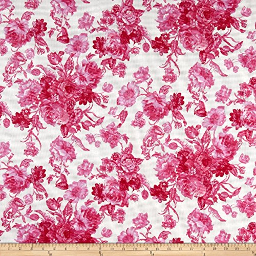 [Romantic Floral Pique Knit Print Ivory/Fruitpunch Fabric By The Yard] (Pique Knit Fabric)