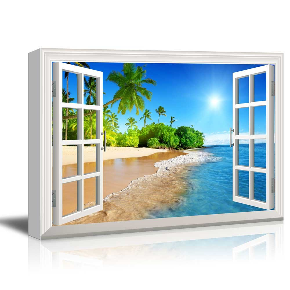 """wall26 Canvas Print Wall Art - Window Frame Style Wall Decor - Beautiful Tropical Beach with White Sand,Clear Sea and Palm Trees Under Blue Sunny Sky - 24"""" x 36"""""""