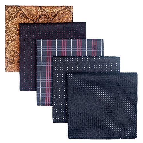 Retreez 5 Piece Assorted Woven Microfiber Premium Pocket Square Gift Box Set - Set 002
