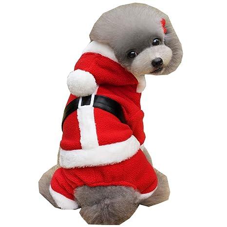 CHIYEEE Disfraz de Navidad para Perro Papá Noel Ropa para ...