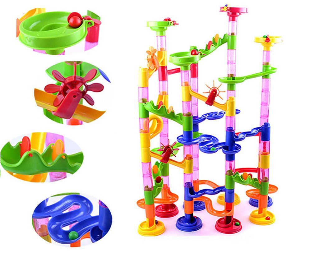 105 Pieces Marble Run Railway Maze Balls Track Toys Construction Child Building Blocks Toys, Children Gift Kid's Toy Children Gift Kid's Toy SUNREEK