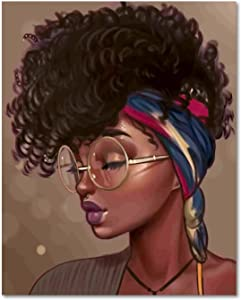 HVEST Black Girl Canvas Wall Art African Woman with Glasses Framed Oil Painting Stretched and Framed Black Hippie Beauty Wall Paintings for Living Room Bedroom Bathroom Office Wall Decor 12x16 inches