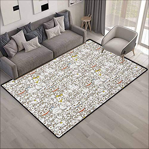 Non-Slip Rug,Kitten Bunch of Cats Sweet Family Animals Best Company Doodle Style Kitties Baby Cartoon,Ideal Gift for Children,4'7