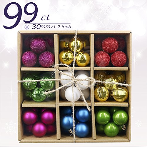 Valery Madelyn 99ct Joyful Multicolored Shatterproof Christmas Ball Ornaments Decoration, Table Centerpiece , 30mm/1.18inch,99 Pcs Metal Hooks Included, Themed with Tree Skirt(Not Included)