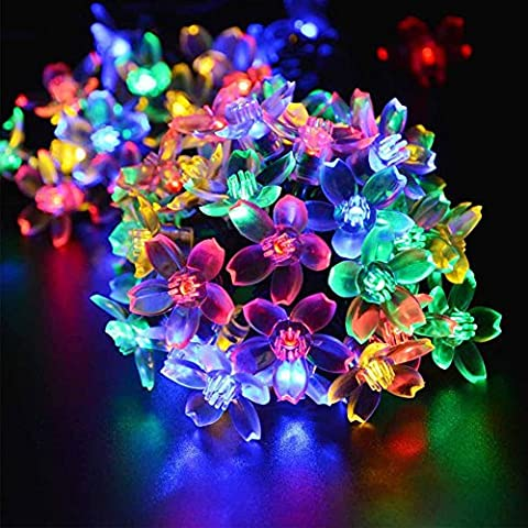 Solar String Lights, Tesla's Outdoor Solar Powered LED Fairy Flower String Lights with 8 Lighting Modes for Patio, Lawn, Garden, Wedding, Holidays, Christmas - Fiber Optic Landscape Lighting