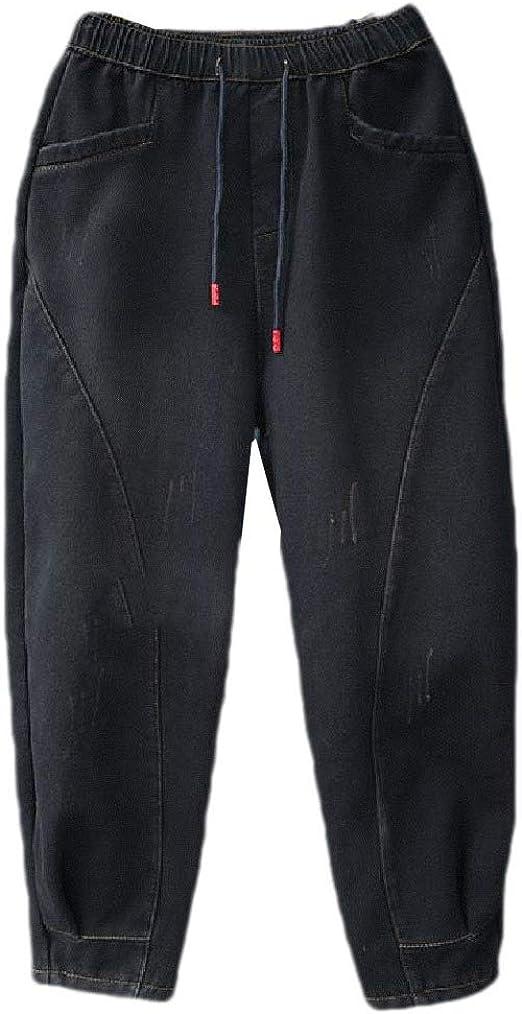 VITryst 女性カジュアルポケット厚いフリースウォッシュフォール冬のジーンズ