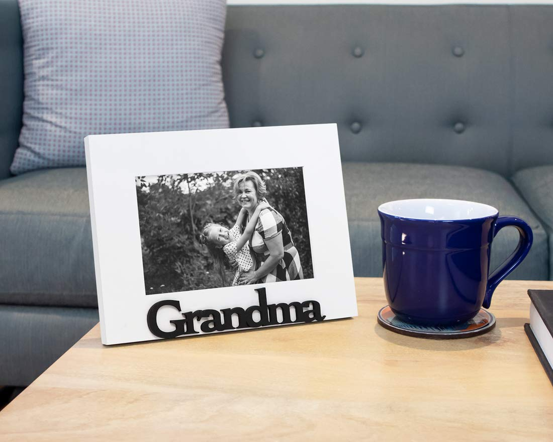 Nana White Family Isaac Jacobs White Wood Sentiments Grandma Picture Frame Display on Tabletop Photo Gift for Grandmother Desk Isaac Jacobs International W-GMA-WH 4x6 inch
