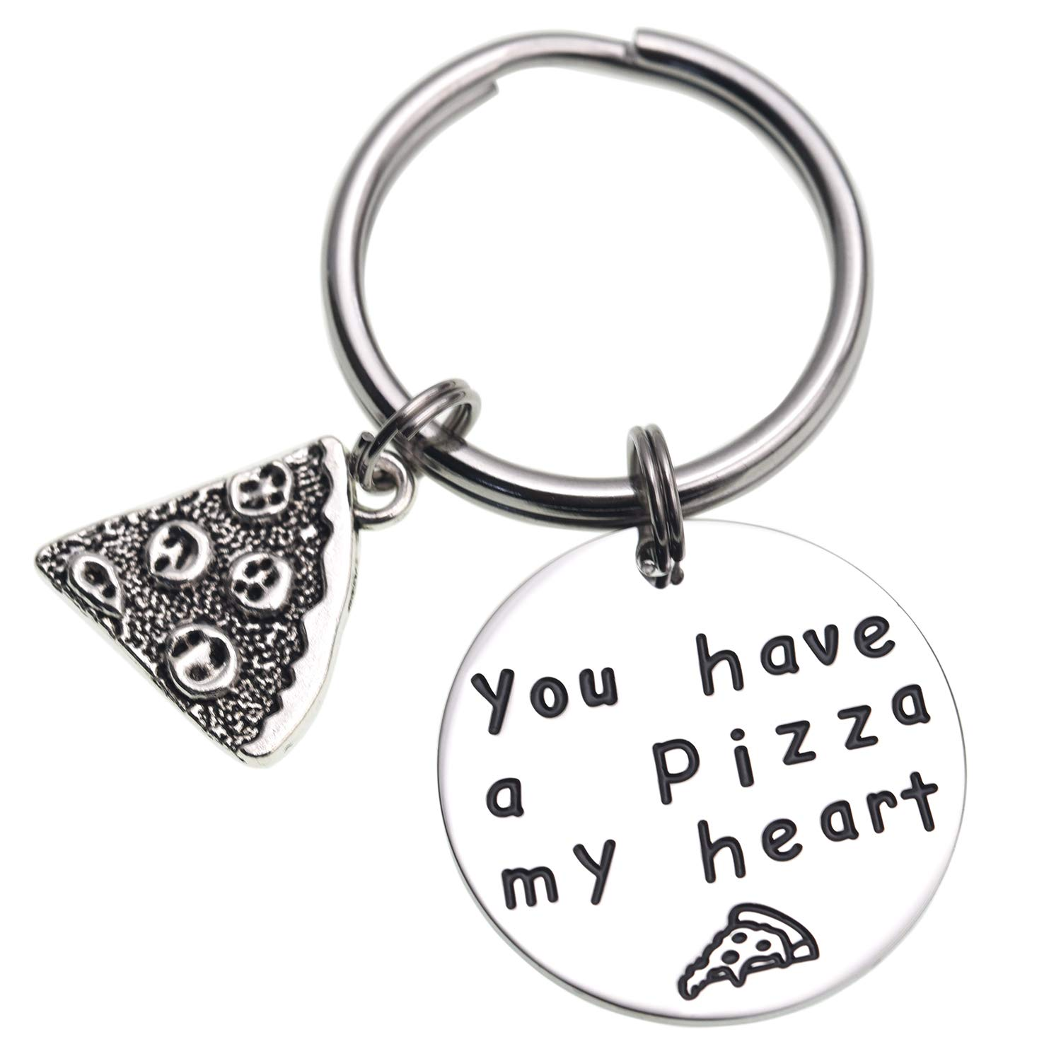LParkin You Have a Pizza My Heart Anniversary Keychain Pizza Keychain Boyfriend Husband Gift Groom Gift Gifts for Him Pizza Lover