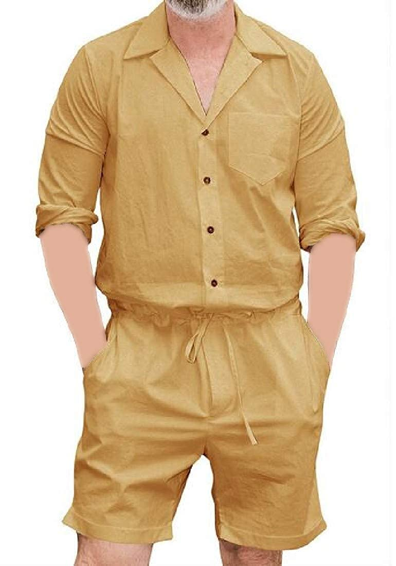Hajotrawa Mens Overalls Lapel Loose Button Front Long-Sleeve Jumpsuits Rompers
