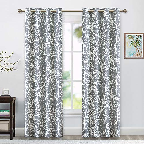 RYB HOME Grey and White Nature - Inspired Graphic Branch Sketch Partten, Vibrant Printing Curtains for Living Room/Bedroom Window Decor, Wide 52 inch x Long 84 inch Each, 2 Panels Set, Dove Grey (Nature Window Curtains)