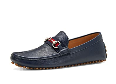 52b7576a6 Amazon.com: Gucci Men's 'Damo' Leather Horsebit Driver, Navy 322741 ...