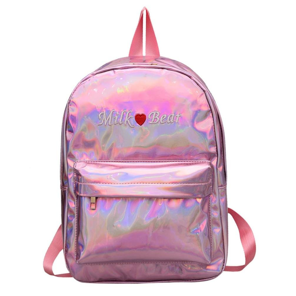 lotus.flower 2018 Dazzling Backpack Glittery Student Bag Shoulder Bag Sport School Bags Lightweight for Lovers Adult Children Boys Girls (Pink)