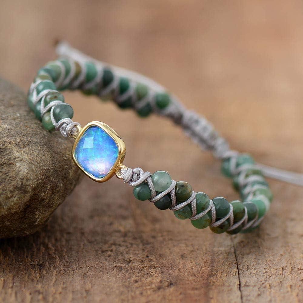 n a Pulseras con dijes de Piedra Natural Jades Opal String Pulseras de hebra Trenzada Amistad Wrap Pulsera Femme Mujeres Joyería