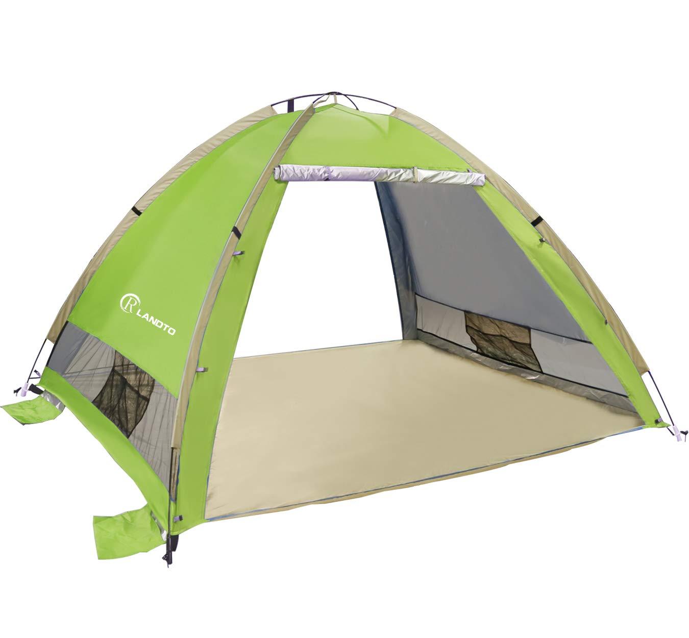 ZOMAKE Pop Up Strandmuschel, Extra Leicht Strandzelt mit Boden UV 80 Sonnenschutz - Familie Tragbares Strand-Zel