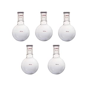Laboy Glass 250mL Single Neck Round Bottom Boiling Flask Heavy Wall with 24/40 Joint Heating Distillation Reaction Receiving Flask Organic Chemistry Lab Glassware (Pack of 5)