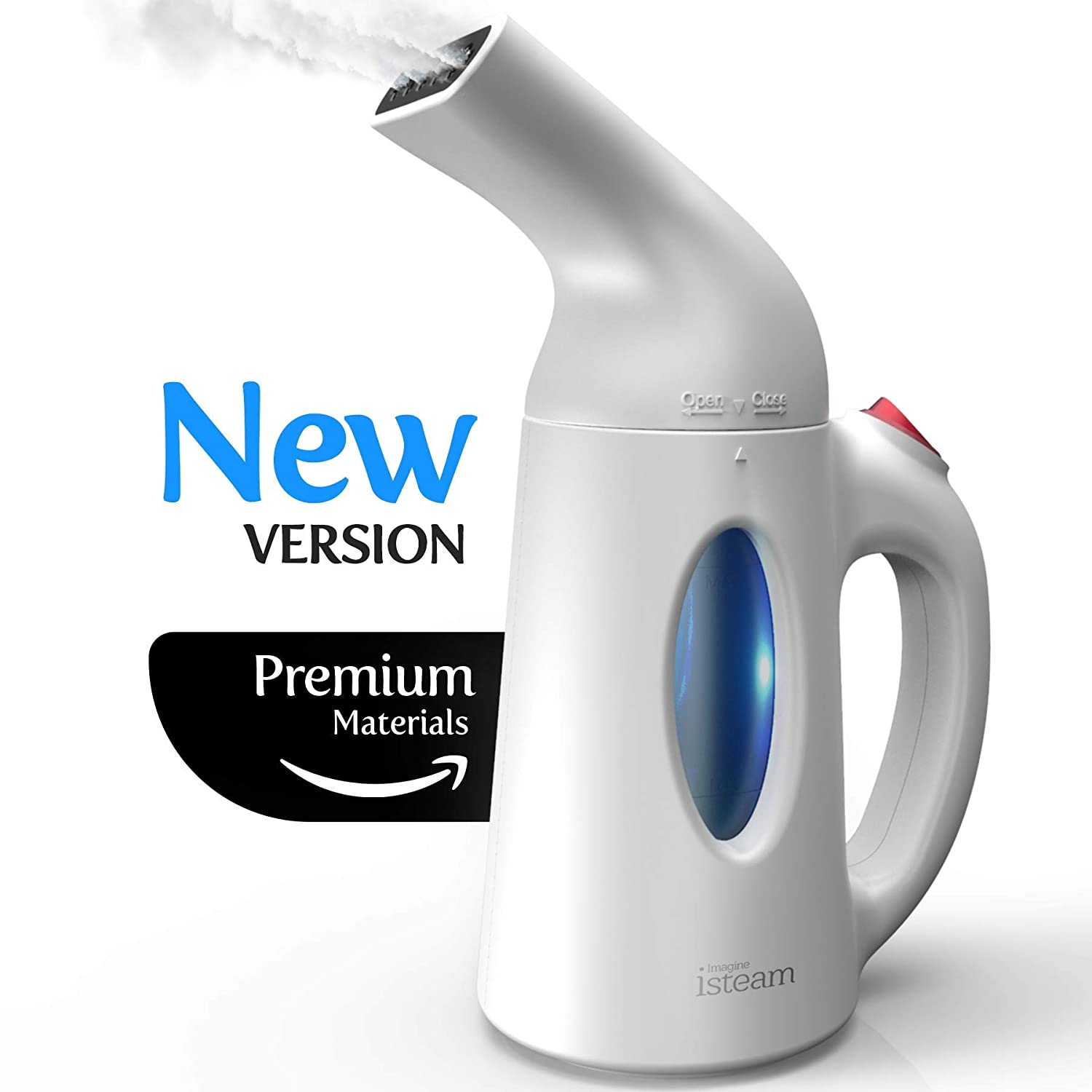 iSteam Steamer for Clothes [New Technology] Powerful Dry Steam Technology 7-in-1. Handheld Garment Wrinkle Remover. Portable Steamer, Mini Clothing Accessory. for Home / Travel [H106]