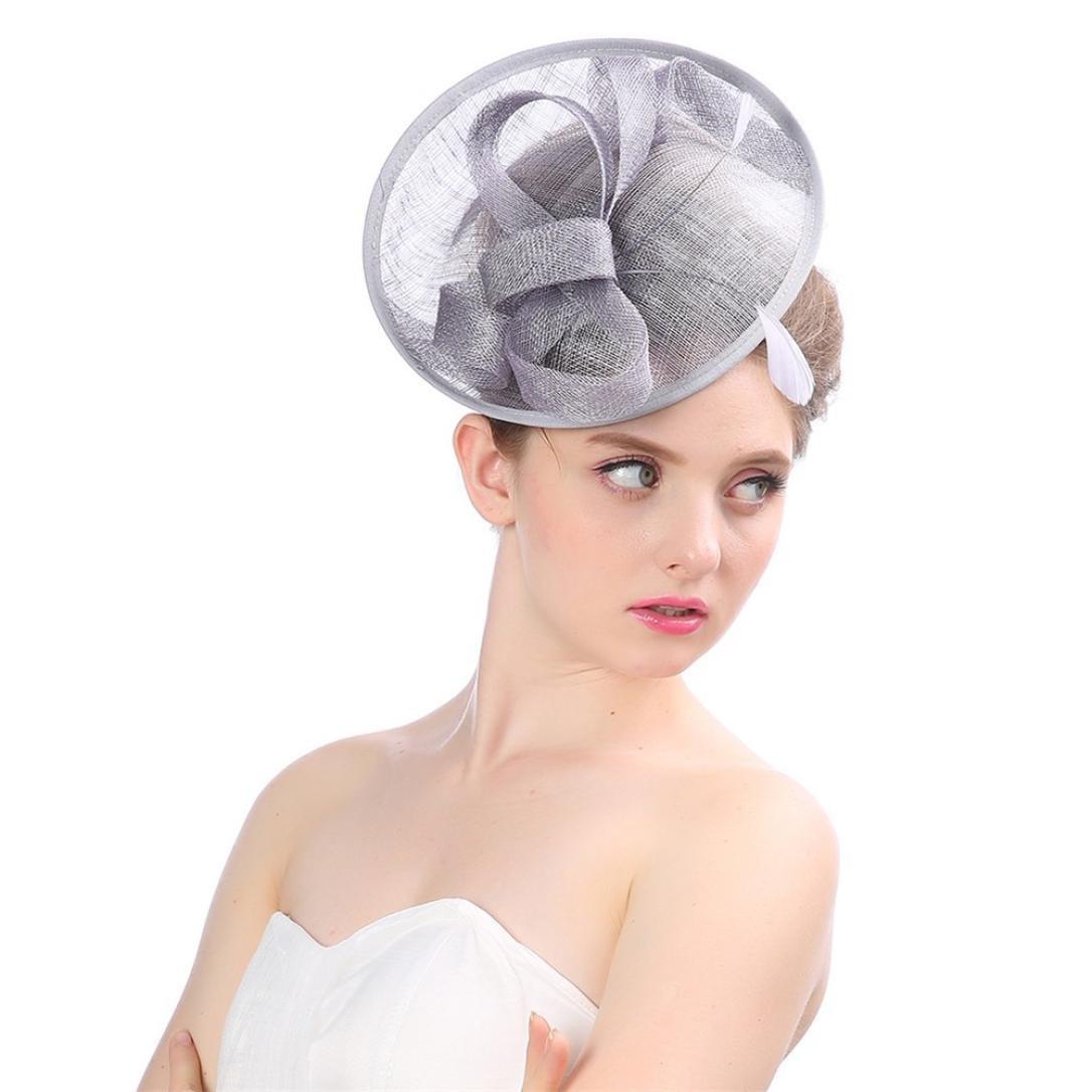Xshuai/® Femme Chapeau Mode Femme Bibi Penny en Maille Rubans Plumes Bandeau Caps Mari/ée Headwear pour Mariage Cocktail Tea Party