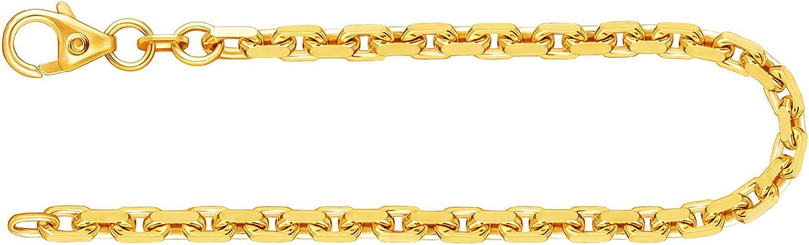 Armband Ankerkette diamantiert Gelbgold 3338 K, Länge 21