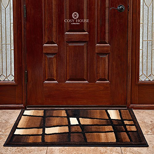 Cosy House Contemporary Door Mat for Indoors & Out | Plush High Pile Olefin Polypropylene | Resists Stains, Soil & Fading | Power Loomed in Turkey, 2' x 3' 4, Ectacy Black