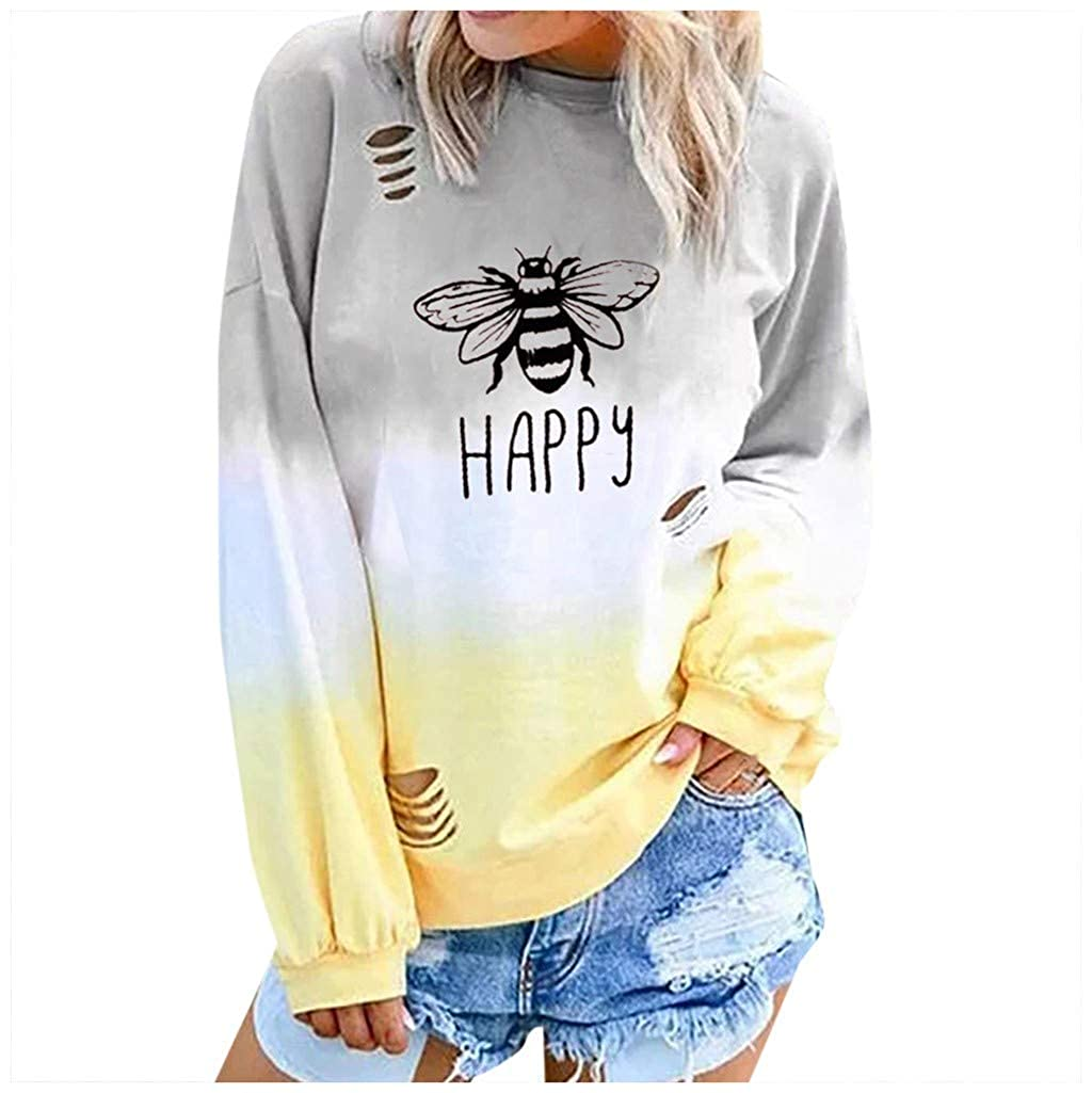 Milamy Womens Gradual Color Blouse Loose Long Sleeve T Shirt Letter Bee Printed Tops Casual Round Neck Pullover Shirt