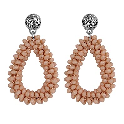 4579d20f8 Amazon.com: Earrings For Aretes Baroque Big Long Earrings For Women  Christmas Drop Dangling Crystal Earrings Beige: Jewelry