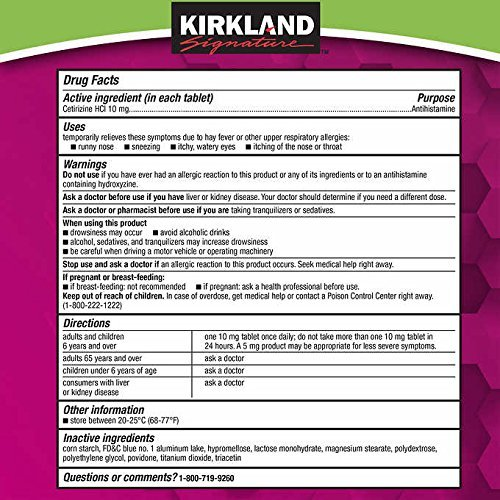 Kirkland Signature Aller-Tec Cetirizine Hydrochloride Tablets, 10 mg, 365 Count by Kirkland Signature