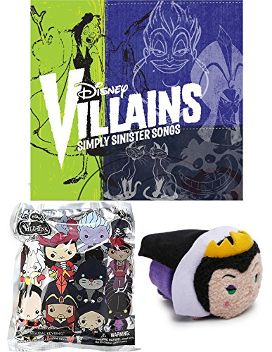 Disney Villains Collection Simply Sinister Tsum Tsum Evil Queen Plush & 3D Blind Bag Keychain Mystery Villain series 1 songs & music including Ursula, Scar and Jafar