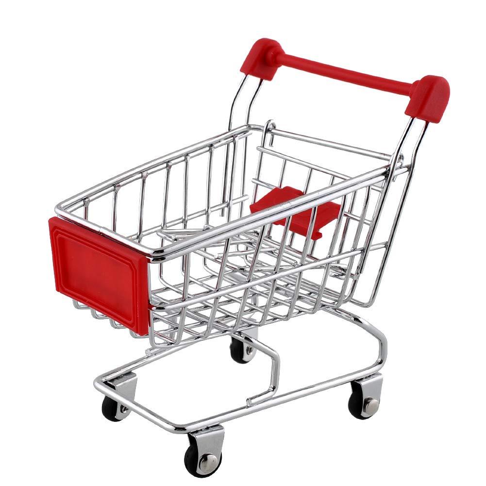 Goodplan Mini Caddie Jouets supermarché charrette à Bras Caddie Utilitaire Panier Mode Chariot de Stockage Jouet Rouge 1 Pcs