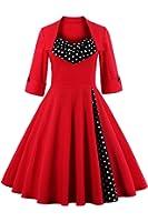 Babyonline Sommer Damen Polka Dots Kleider Vintagekleid Rockabilly Kleid Partykleider S-5XL