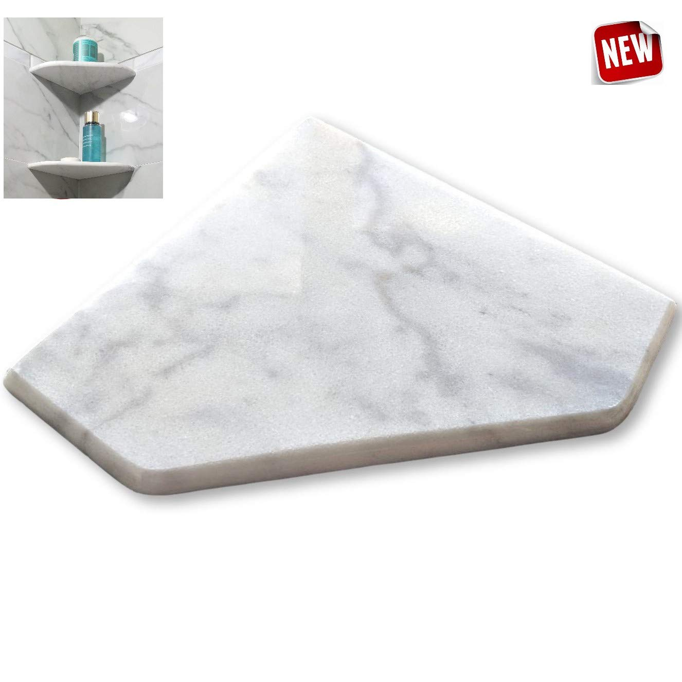 EZ-Mount Marble Shower Corner Shelf - Wall Attached 8'' Soap Dish with Install KIT - (XD Bianco Ibiza) Floating Stone Bathroom Caddy - Shampoo Holder