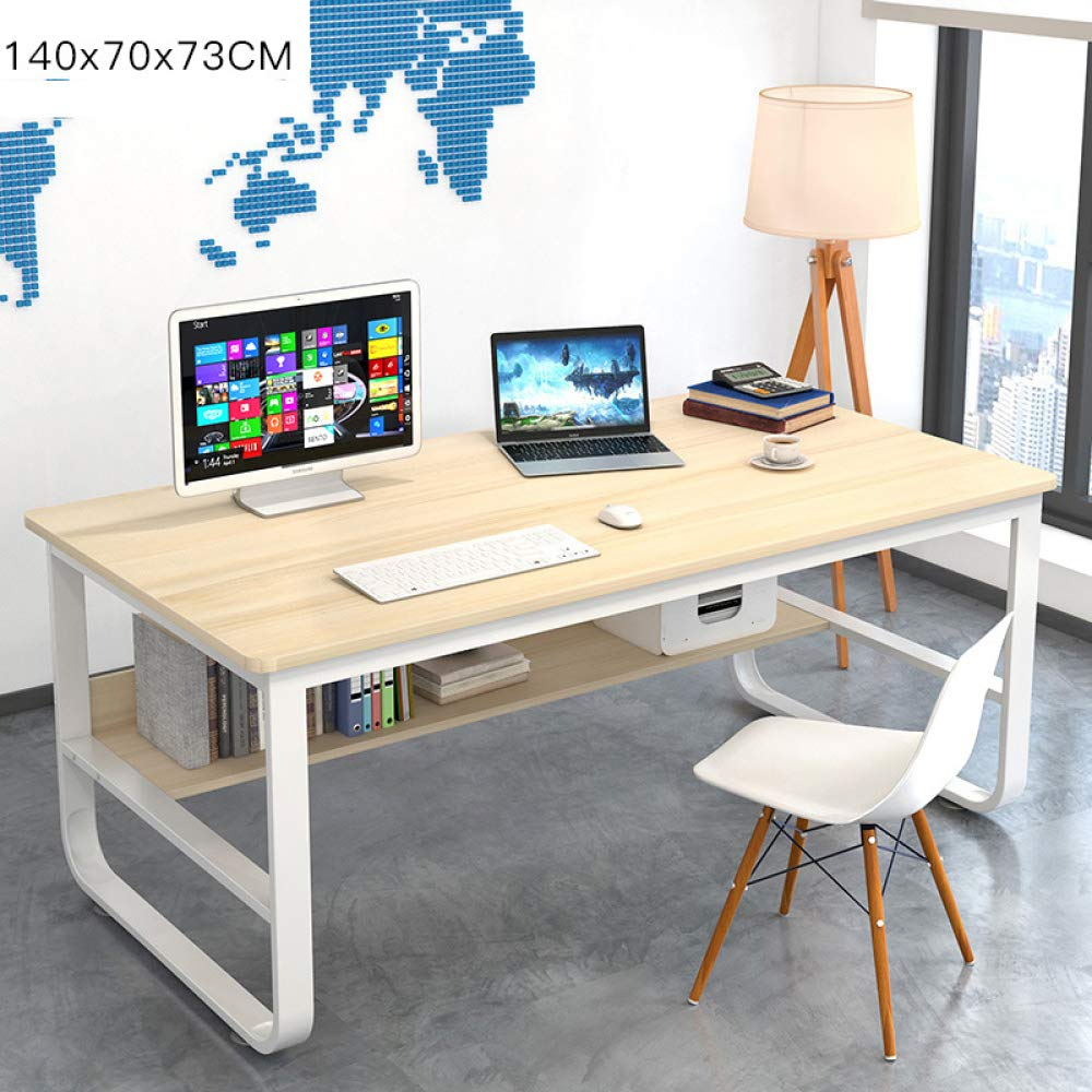 ZFY Computer Desktop Table,Household Work Student Desk,Desk Solid Wood Economic Type Game Dining No Peculiar Smell Environmental Protection/White / 1407073cm