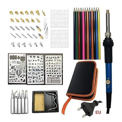 Pyrography Pen Set Ajustable Termostático Grabado Hierro Material de madera Equipo de quema Herramienta Profesional Varios